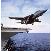 F-14 on take off from carrier deck