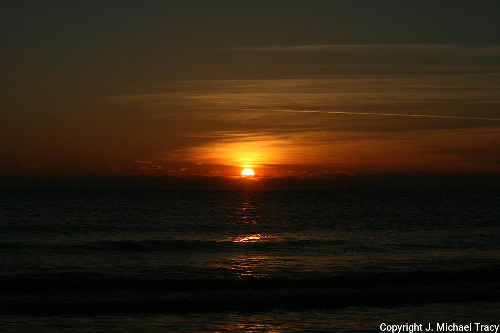 Intense Jekyll Island Georgia winter sunrise over the Atlantic