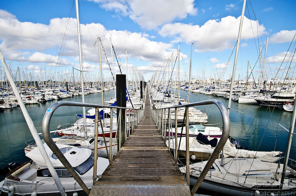 Sailboats are docked at La Rochelle marina in the Charente-Maritime department of France.