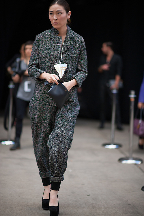 Tweed Jumpsuit and Givenchy Necklace at Theyskens Theory
