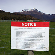 The roadside notice in front of the film set as final preparations take place on set before the shooting of  Executive producer, writer and director Sir Peter Jackson's sequel 'The Hobbit: An Unexpected Journey' in a remote valley in Paradise, near Glenorchy, 66km from Queenstown. South Island, New Zealand. 16th November, 2011