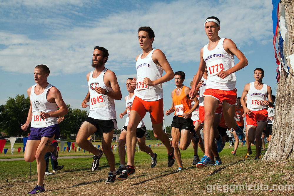 The lead pack (L to R: Brandon Dworak, Northwest Nazarene University's Barak Watson, Boise State University's Drew O'donoghue-McDonald and Vince Hamilton) on the first of three loops during the Roger Curran Memorial Run collegiate 6k race at West Park in Nampa, ID on September 10, 2011. Hamilton finished second (19:00.81), Watson third (19:02.79), O'donoghue-McDonald (19:09.78), and Dworak eighth (19:24.44).