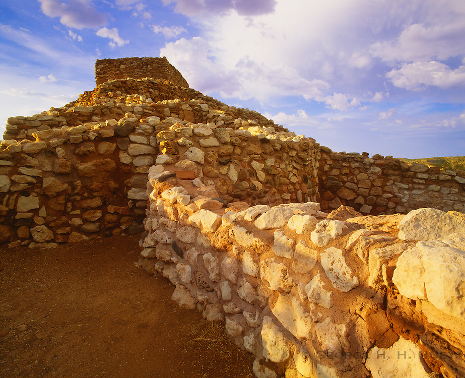 0119-1005 ~ Copyright: George H. H. Huey ~ Tuzigoot Pueblo ruin.  Sinagua Culture hilltop pueblo. Occupied A.D. 1100's. Near present day town of Cottonwood, Arizona. Tuzigoot National Monument, Arizona.