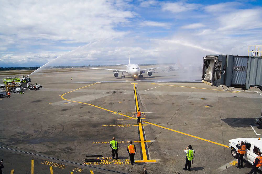 The first ever Paris - Seattle direct Air France flight arrives, welcomed by ceremional water jets, at SeaTac Airport, Seattle, Washington on June 11, 2007.