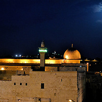 Dome of the Rock in Moonlight on Temple Mount in Jerusalem, Israel<br /> The Dome of the Rock in the Old City of Jerusalem, Israel, is of historical and religious significance to Muslims, Christians and Jews.  Built on the Temple Mount in 691 A.D., its dome is covered by an aluminum bronze alloy with gold.  Its greatest significance is inside. The Foundation Stone (the Rock) represents the spiritual joining of Heaven and Earth. This famous landmark is maintained by the Jordanians.