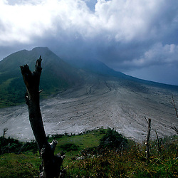 The tropical Caribbean island of Montserrat which has suffered badly since the eruption of the Soufriere Hills volcano 10 years ago. Two thirds of the island is out of bounds to everyone except scientists. Photo shows views to the volcano and the aftermath of a pyroclastic flow that went on to destroy the capital Plymouth..Photo©Steve Forrest/Workers Photos
