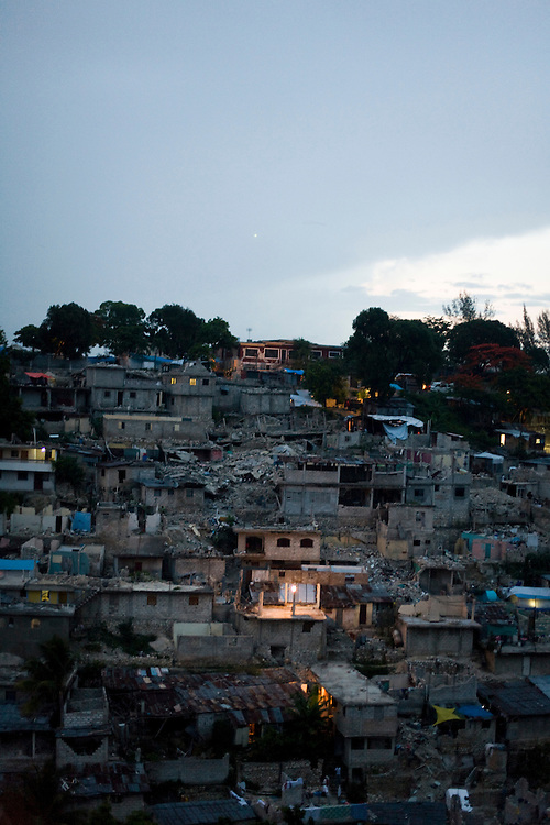 A hillside of collapsed homes nearly six months after the January 12th earthquake.