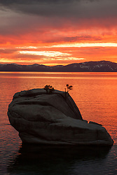 """Bonsai Rock Sunset 5"" - Photograph of a orange sunset at Bonsai Rock on Lake Tahoe."