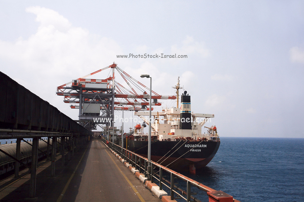 Israel, Hadera, A ship unloads coal to the coal operated power plant
