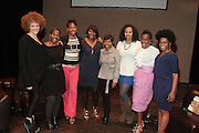May 2, 2012- New York, United States- (L-R) Writer/Image Activist Michaela Angela Davis, Writer Akiba Solomon, Writer Nicole Moore, Kierna Mayo, Editorial Director, Digital, EBONY Magazine, Actress Malinda Williams Jamilah Lemieux, Digital Content Editor, Ebony.com, Writer Karen Goode and Honey Magazine Co-Founder/Writer/Producer Joceilyn Dingle pose onstage for a panelists photograph at the ' Nice with Hers ' Conversation moderated by Nicole Moore, of TheHotness.com in collaboration with Ebony.com held at the Schomburg Center on May 2, 2012 in the village of Harlem in New York City. Nicole Moore speaks with some of the fearless female journalists who wrote the narrative of how the world came to know hip hop, culture, fashion, and itself. (Photo by Terrence Jennings).