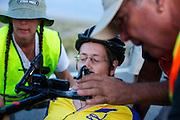 Ellen van Vugt op de vijfde racedag. In Battle Mountain (Nevada) wordt ieder jaar de World Human Powered Speed Challenge gehouden. Tijdens deze wedstrijd wordt geprobeerd zo hard mogelijk te fietsen op pure menskracht. Ze halen snelheden tot 133 km/h. De deelnemers bestaan zowel uit teams van universiteiten als uit hobbyisten. Met de gestroomlijnde fietsen willen ze laten zien wat mogelijk is met menskracht. De speciale ligfietsen kunnen gezien worden als de Formule 1 van het fietsen. De kennis die wordt opgedaan wordt ook gebruikt om duurzaam vervoer verder te ontwikkelen.<br /> <br /> Ellen van Vugt on the fifth racing day. In Battle Mountain (Nevada) each year the World Human Powered Speed Challenge is held. During this race they try to ride on pure manpower as hard as possible. Speeds up to 133 km/h are reached. The participants consist of both teams from universities and from hobbyists. With the sleek bikes they want to show what is possible with human power. The special recumbent bicycles can be seen as the Formula 1 of the bicycle. The knowledge gained is also used to develop sustainable transport.