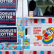 Republican presidential hopeful Thaddeus McCotter uses an ice cream truck as part of his campaign at the Iowa Straw Poll Saturday, August 13, 2011, in Ames, Iowa (IA)...Photo by Khue Bui.