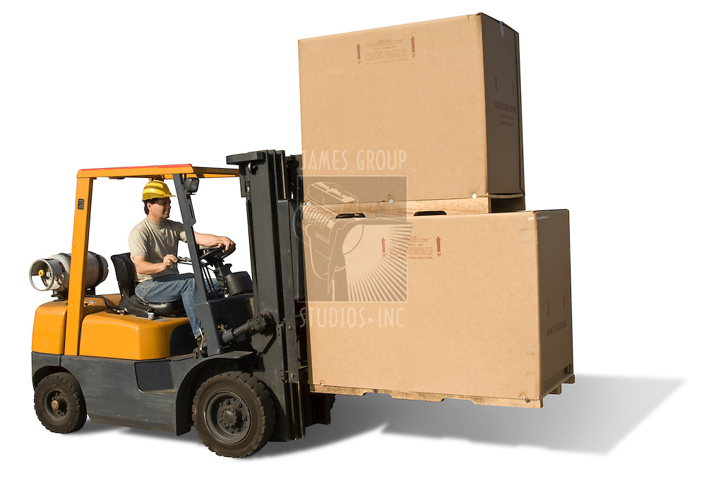 Forklift with operator isolated on a white background with clipping path