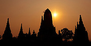 Sunset over Ayutthaya, Thailand.