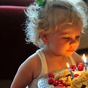 A young girl blows out the candles on her birthday cake while celebrating her second birthday.