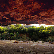 Setting sun from a hidden rock niche in Carlsbad Caverns National Park, NM.