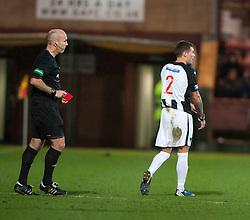 Referee Stephen Finnie red cards Dunfermline's Jordan McMillan..half time : Dunfermline v Falkirk, 26/12/2012..©Michael Schofield.