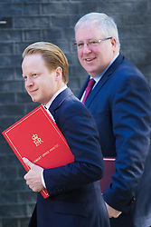 Downing Street, London, July 19th 2016. Chancellor of the Duchy of Lancaster Patrick McLoughlin and Minister for the Cabinet Office and Paymaster General Ben Gummer arrive at the first full cabinet meeting since Prime Minister Theresa May took office.