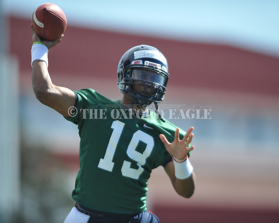 Quarterback Evan Ingram goes through a drill as Mississippi began spring practice in Oxford, Miss. on Friday, March 23, 2012. (AP Photo/Oxford Eagle, Bruce Newman)