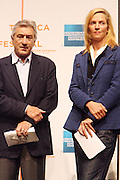 l to r: Robert De Niro and Urma Thurman at The 2009 Tribeca Film Festival Opening Press Conference Kick-Off held at The Borough of Manhattan Community College in New york City on April 21, 2009