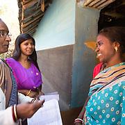 CAPTION: . LOCATION: Pawra (village), Ghatshila (block), Purbi Singhbhum (district), Jharkhand (state), India. INDIVIDUAL(S) PHOTOGRAPHED: From left to right: Nirmala Shukla, Panchami Namta and Susmita Mardi.