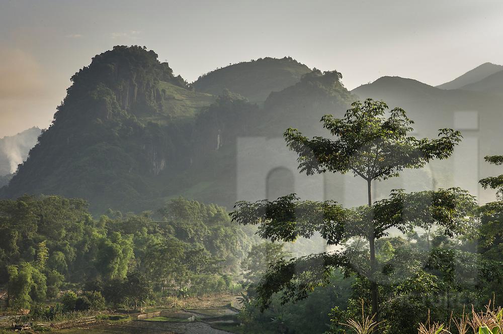 Mystical mountain landscape between Nghia Lo and Mu Cang Chai, Yen Bai Province, Northern Vietnam, Southeast Asia