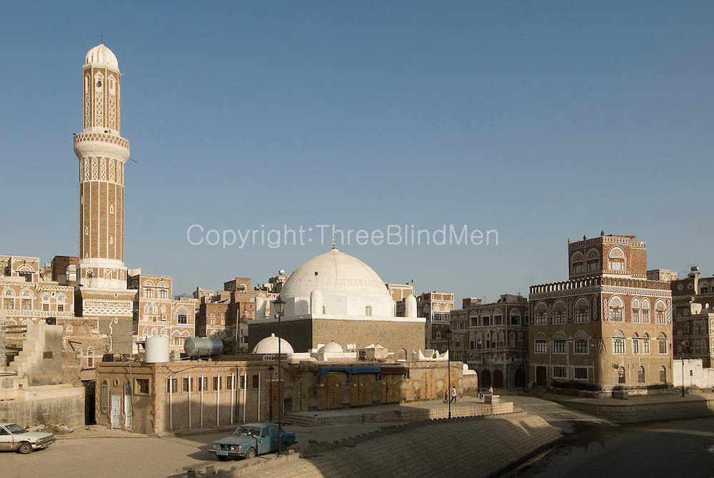 Yemen Mosque Minaret And Dome Old City Sanaa