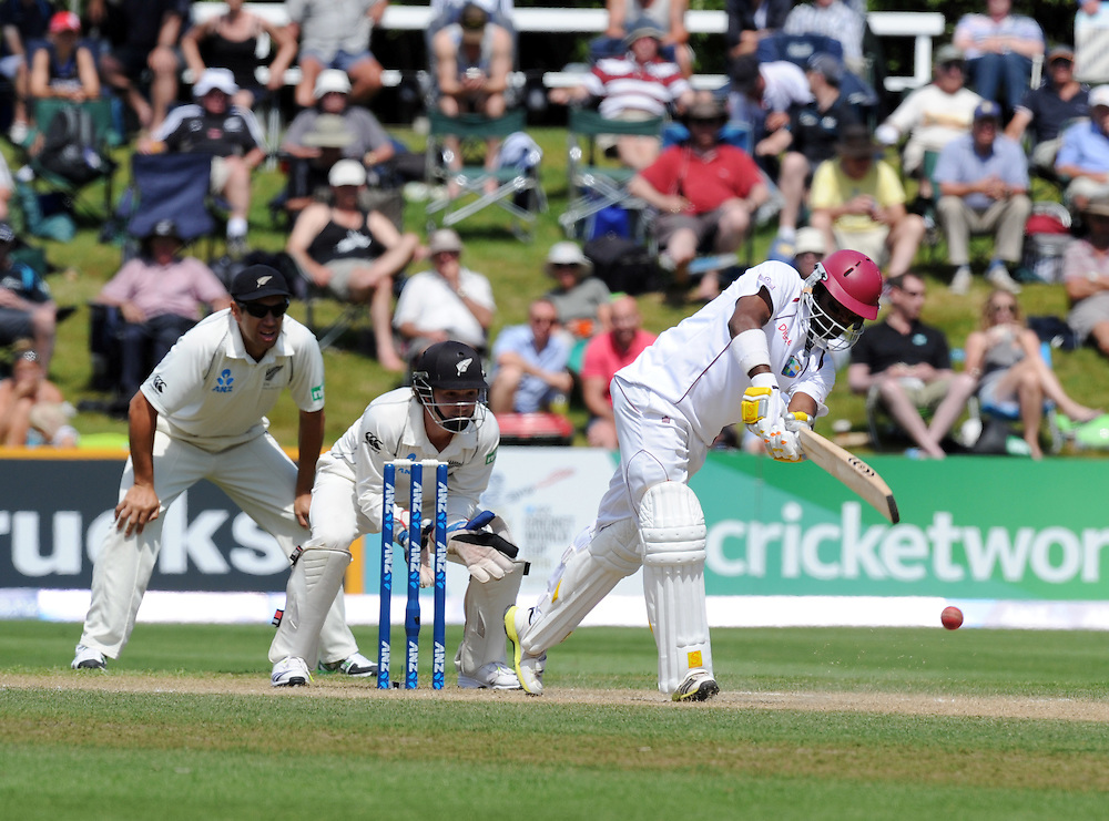 West Indies Narsingh Deonarine plays in front of New Zealand's B J Watling on the fourth day of the International cricket match, University Oval, Dunedin, New Zealand, Friday, December 06, 2013. Credit:SNPA / Ross Setford