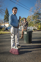 """Professional landscapper and Calistoga resident Chico Chavez with his associate, Pamfilo Ortez, finish up their work at a residence on Filmore Street in Calistoga.  """"Our day starts at 3:30 AM and usually ends at 6 PM...seven days a week."""""""