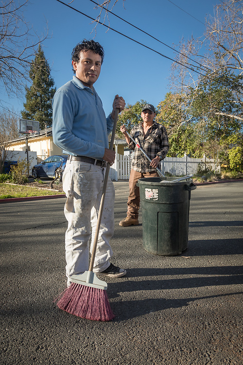 "Professional landscapper and Calistoga resident Chico Chavez with his associate, Pamfilo Ortez, finish up their work at a residence on Filmore Street in Calistoga.  ""Our day starts at 3:30 AM and usually ends at 6 PM...seven days a week."""