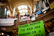 Wisconsin state worker Alyson Bohlman protests in the State Capitol on February 23, 2011 in Madison, Wisconsin.