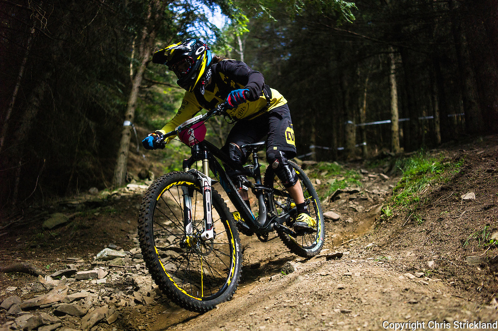 Innerleithen, Tweed Valley, Scotland, UK. 30th May 2015. Anne Caroline Chausson in action at The Enduro World Series Round 3 taking place on the iconic 7Stanes trails during Tweedlove Festival. Mountain bikers come up against eight stages across two days, with an intense 2,695 metres of climbing over 93km. As well as the physicality of the liaisons, the stages themselves are technical, catching many off guard.