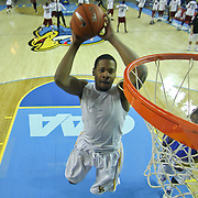 Delaware Forward Marvin King-Davis (21) dunks during warm ups prior to a regular season NCAA basketball game against Rider Monday, Dec. 31, 2012 at the Bob Carpenter Center in Newark Delaware.