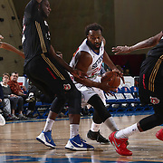 Delaware 87ers Guard BARON DAVIS (24) attempts to penetrate the lane in the first half of a NBA D-league regular season basketball game between the Delaware 87ers and the Erie BayHawks Tuesday, Mar. 29, 2016, at The Bob Carpenter Sports Convocation Center in Newark, DEL.