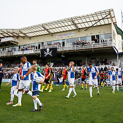 Bristol Rovers and Birmingham City walk out ahead of kick off - Mandatory byline: Rogan Thomson/JMP - 07966 386802 - 11/08/2015 - FOOTBALL - Memorial Stadium - Bristol, England - Bristol Rovers v Birmingham City - Capital One Cup First Round.