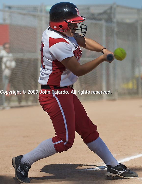 Caitlin Lopez at bat for LBCC in the game against South Coast Conference rival El Camino College at the LBCC Softball Field on Tuesday April 7, 2009.  The Vikings win 10-0 when El Camino failed to score in the fifth inning.