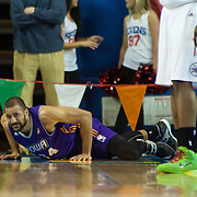 Iowa Energy Forward Jackie Carmichael (34) attempts get up from the floor after falling in the first half of a NBA D-league regular season basketball game between the Delaware 87ers (76ers) and the Iowa Energy Tuesday, Jan 14, 2014 at The Bob Carpenter Sports Convocation Center, Newark, DE