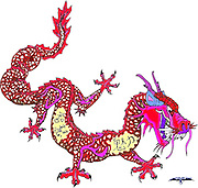 Red Chinese Dragon design originally for a tattoo with Chinese words imbedded in the design.