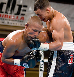 March 9, 2006 - New York, NY - Edgar Santana and Francisco Campos trade punches during their 10 round fight at the Manhattan Center in New York City.  Santana won the bout via 7th round TKO.
