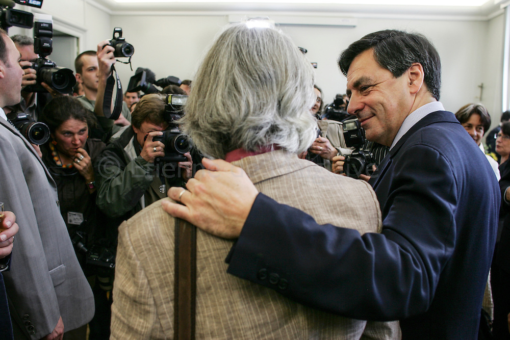 Sablé sur Sarthe, 19 May 2007. In his constituency in the Sarthe departement, French newly appointed PM Francois Fillon launches the UMP campaign for the upcoming French parliamentary elections. Attending a reception at Sablé sur Sarthe city hall with his wife Penelope.