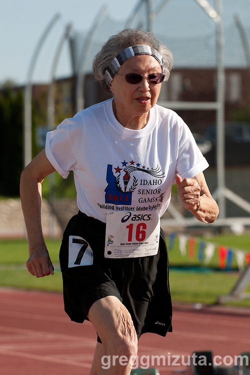 Patricia Fujii competes in the 100 meters during the 2011 Idaho Senior Games track & field meet at Northwest Nazarene University in Nampa, ID on August 20, 2011. Fujii placed first in the womens 80-84 100 meter dash with a time of 26.5.
