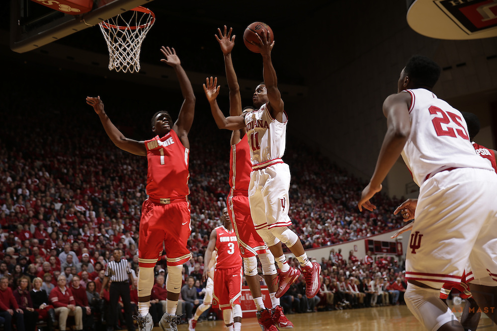 Indiana guard Yogi Ferrell (11) as Ohio State played Indiana in an NCCA college basketball game in Bloomington, Ind., Saturday, Jan. 10, 2015. (AJ Mast)
