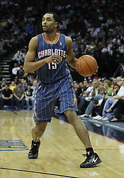 Apr 11; Newark, NJ, USA; Charlotte Bobcats guard Gerald Henderson (15) dribbles the ball during the second half of their game against the New Jersey Nets at the Prudential Center. The Bobcats defeated the Nets 105-103.