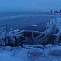 chicago frozen pier in the winter
