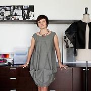Warsaw, Poland, June 2013. Asia Wysoczyńska, emergent fashion designer in her home studio in Warsaw.