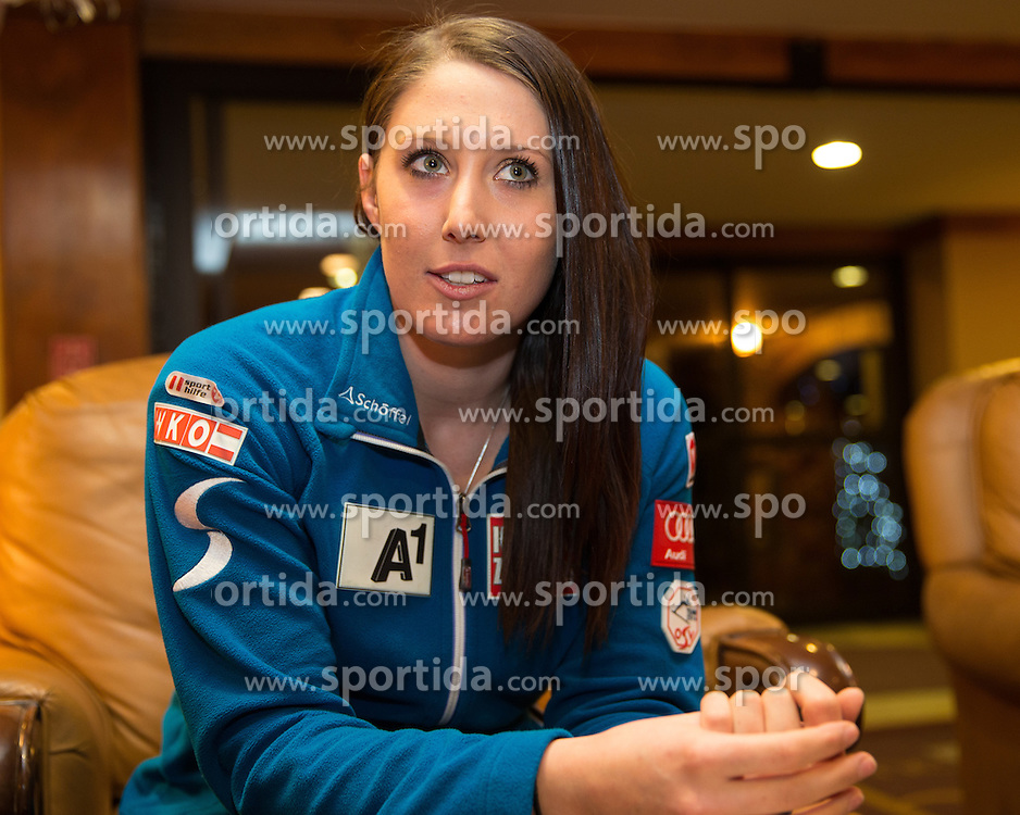 27.11.2013, Hotel Charter, Beaver Creek, USA, FIS Ski Weltcup, Beaver Creek, Pressegespraech OeSV Damenteam, im Bild Cornelia Huetter (AUT) // Cornelia Huetter of Austria during the press conference of Austrian ladies Ski Team of the Beaver Creek ladies FIS Ski Alpine World Cup at the Charter Hotel in Beaver Creek, United States on 2012/11/27. EXPA Pictures © 2013, PhotoCredit: EXPA/ Johann Groder