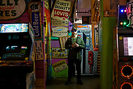 LA based Meme Creator Baked Alaska –Tim Treadstone stands at the PlayLand Arcade in Redondo Beach, CA on Sunday, February 12, 2017.  Treadstone's memes supporting Trump helped conquesr the internet.(Photo by Sandy Huffaker for Politico)
