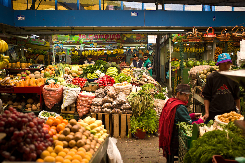 Fruits and vegetables at the Paloquemao Market in Bogotá, Colombia.