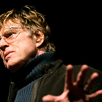 "Actor Robert Redford speaks at the 2006 Sundance film festival opening night premiere of Sony Pictures' ""Friends with Money"" in Park City, Utah January 19, 2006. The movie tells the story of three married women, their husbands and their lone single friend and opens limitedly in the US on April 7, 2006. REUTERS/Rick Wilking"