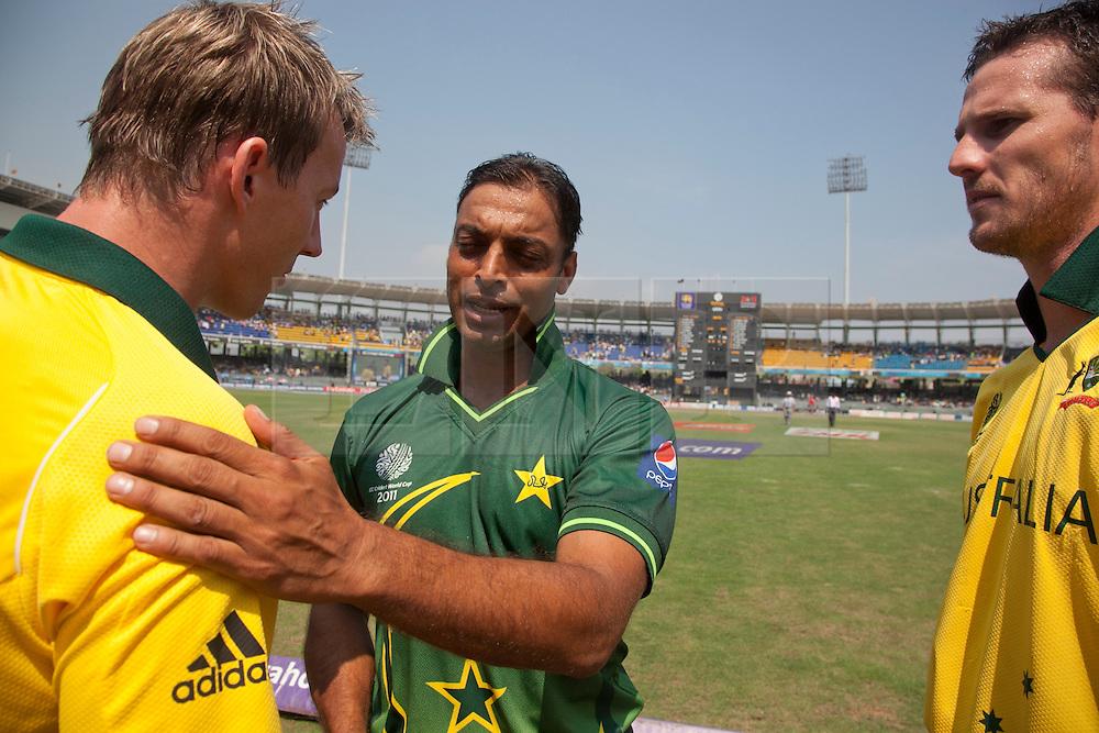 ©London News Pictures. 19/03/2011.Australian Fast bowlers Brett Lee & Shaun Tait congratulate soon to be retired Pakistani paceman Shoaib Akhtar on a great career at R.Premadasa Stadium Colombo Sri Lanka